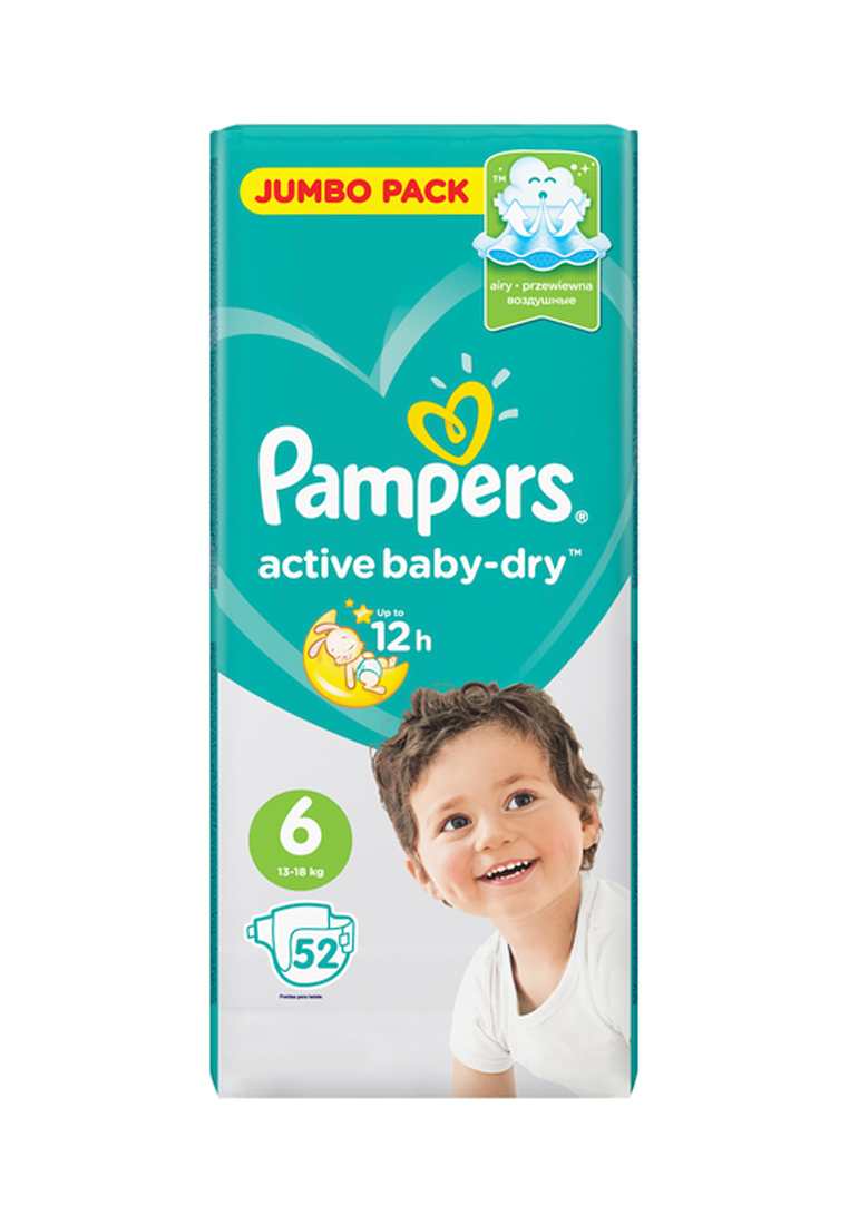 Подгузники pampers active baby-dry, 6 размер, 52/54шт Pampers
